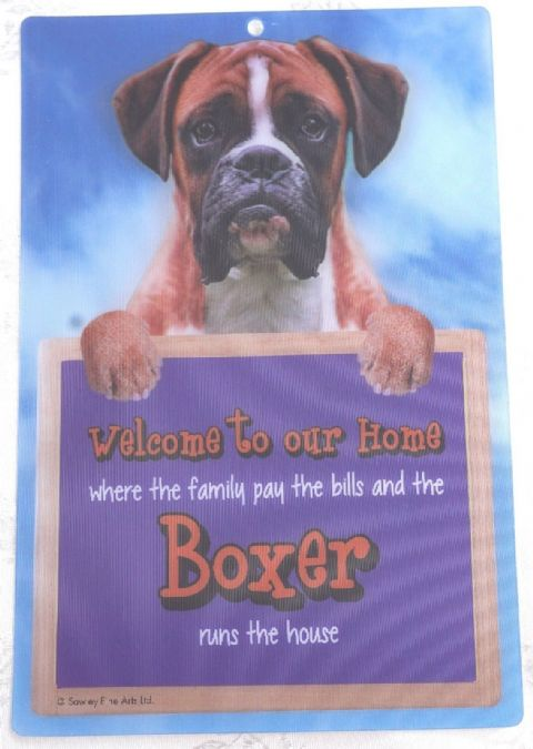 BOXER DOG 3D WELCOME SIGN STUNNING EYE CATCHING 23CM X 15CM DURABLE SIGN